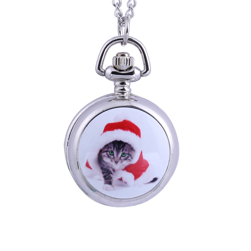 Fashion Women Pocket Watches Classic Pocket Necklace Watch Stainless Steel Quartz Women Watch Cat Pattern Pendant Clock Gifts /C