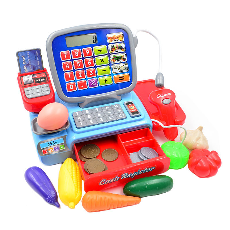 BOHS Pretend Play Toy Cashier Cash Register with Real Calculator Vegetable Coins Toys pretend play cash register toys for girl multi functional kids plastic cash register cashier toy calculator microphone scanner