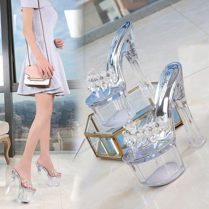 17.5CM Transparent Platform Sandals