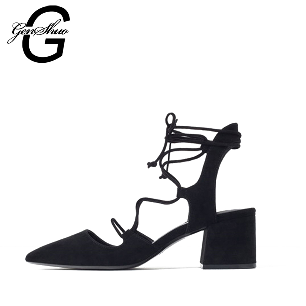GENSHUO 2017 Hot Sexy Black Cross Strap Women Pumps Suede Lace Up Pointed Toe High Heels 6CM Wedding Dress Shoes Woman Shoe