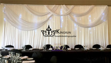 Nice Looking White Color Ice Silk Wedding Backdrop Curtain  Stage Background With Led Lights Free Shipping