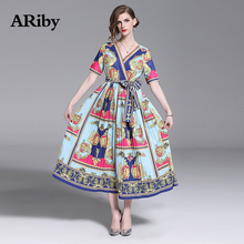 купить ARiby Women Dress Printed Long Pleated Dress 2019 Summer New Vintage Lady V-Neck Short Sleeve Empire Mid-Calf Dresses Vestidos по цене 1649.95 рублей