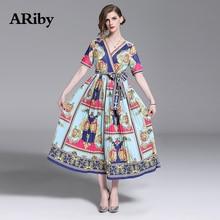 ARiby Women Dress Printed Long Pleated 2019 Summer New Vintage Lady V-Neck Short Sleeve Empire Mid-Calf Dresses Vestidos