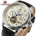 Forsining FSG16577M3S2 automático nova moda tourbillon prata pulseira de couro preto relógio para homens frete grátis