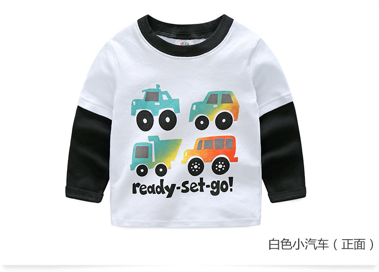 2018 Spring Autumn For 2-9 10 Years Children Cotton Striped Patchwork Cartoon Car Bus Truck Baby Kids Boys Long Sleeve T Shirts (27)