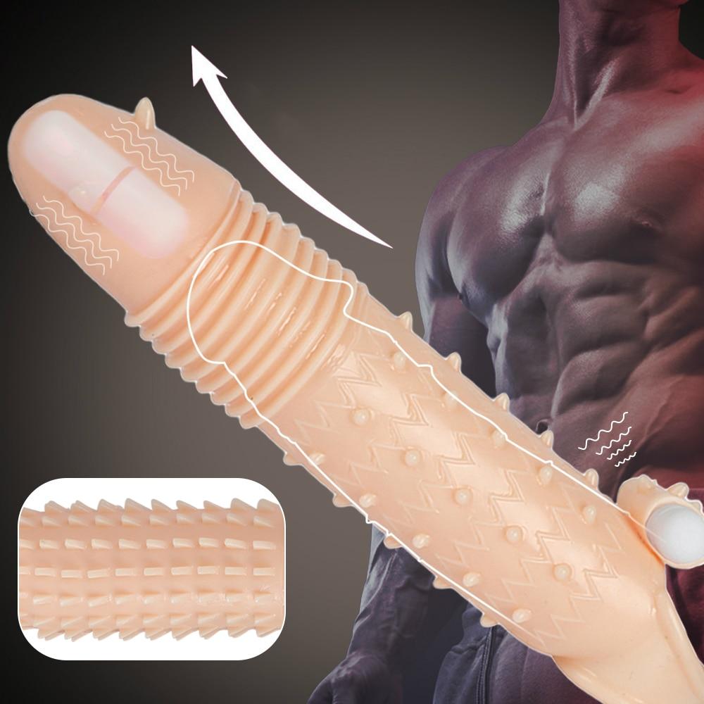 Vibrating Dick Sleeve For Men Penis Enlargement Condoms Reusable Penis Sleeve Extender Dildo Enhancer Sleeves Adults Sex Product