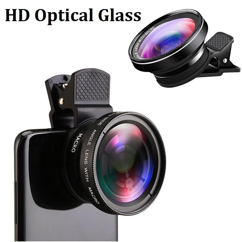 Teléfono Super Lente Macro 12.5X amplia 0.45X o 0.6X ángulo Kit de vidrio óptico Lente de la cámara del teléfono Lente gran angular smartphone