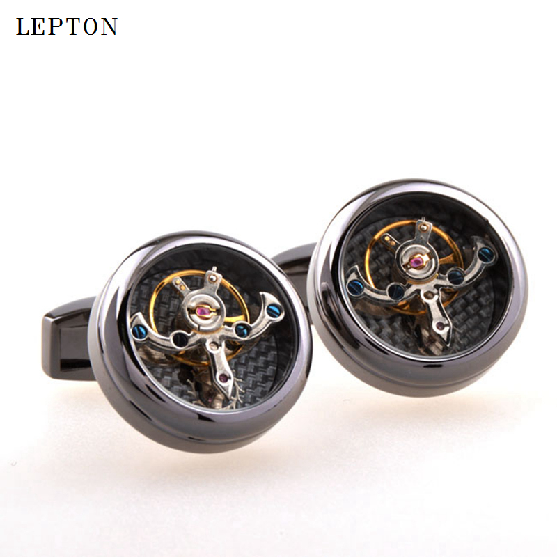 Hot Sale Movement Tourbillon Cufflinks For Mens Lepton High Quality Mechanical Watch Steampunk Gear Cuff Links Relojes Gemelos