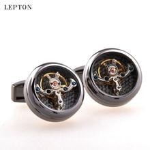 Sıcak satış hareketi Tourbillon Mens için kol düğmeleri Lepton yüksek kaliteli mekanik saat Steampunk dişli kol düğmeleri Relojes Gemelos