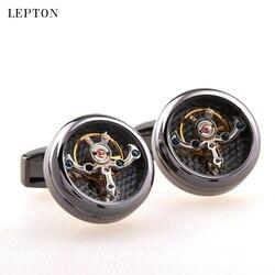 Venda quente movimento tourbillon abotoaduras para homens lepton alta qualidade relógio mecânico steampunk engrenagem manguito links relojes gemelos