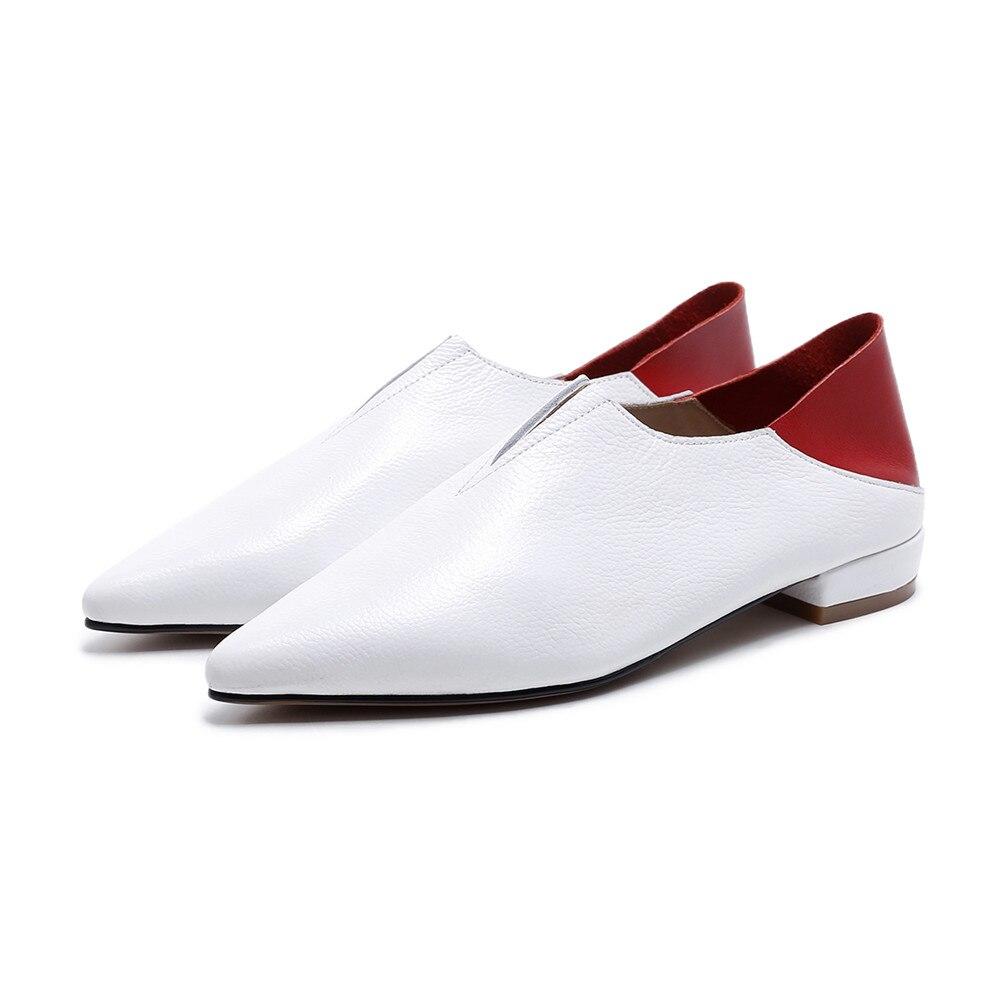 Plates Mélangées Couleurs Cuir Véritable En Appartements Printemps Bout Asumer Noir Mode Pointu Noir Automne Femmes Dames Blanc blanc Chaussures Casual 5ARqc4jS3L