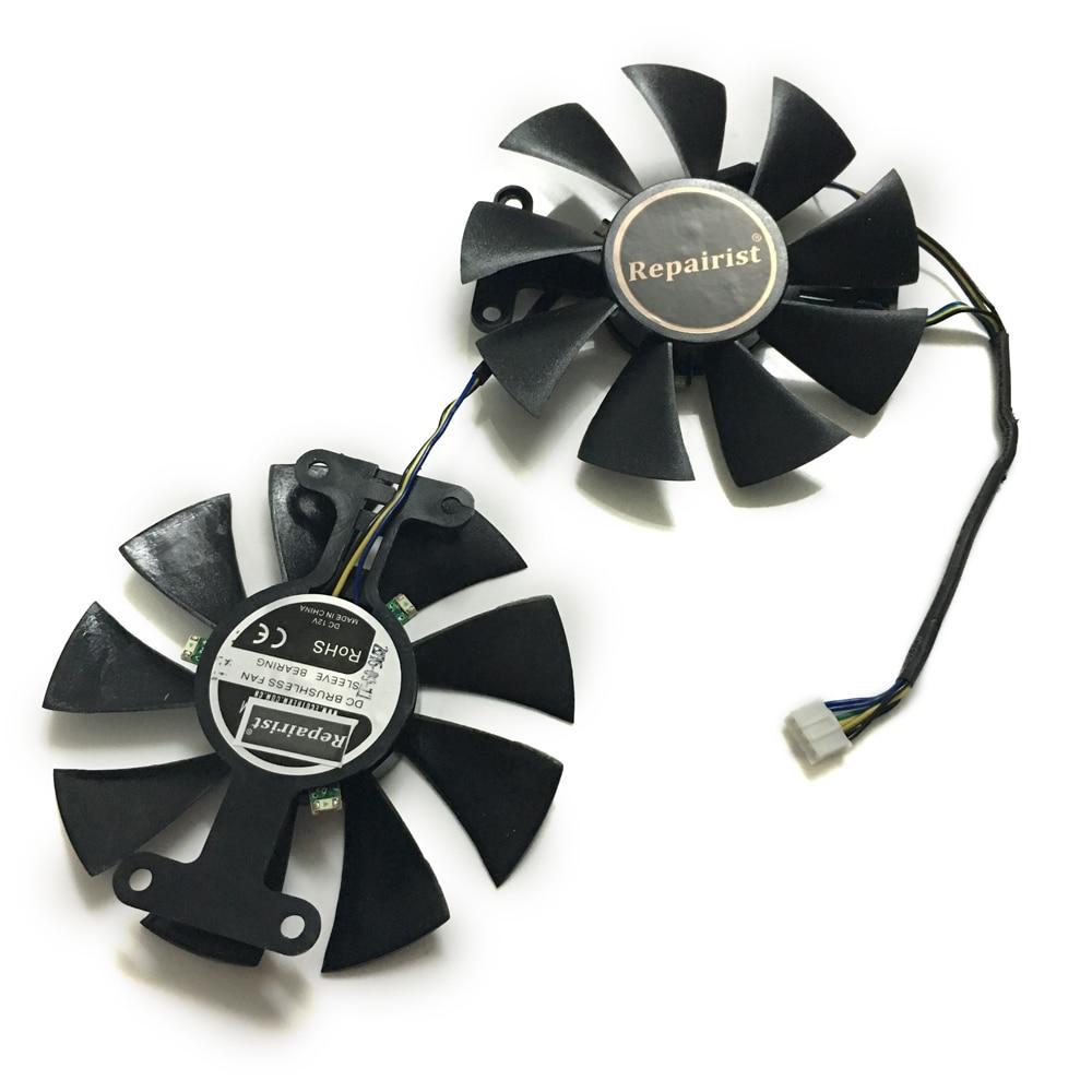 Repairist 2 шт. GeForce GTX 1050/1050TI GPU кулер вентилятор для ZOTAC GeForce gtx1050 gtx1050ti X-игровой OC Графика карта охлаждения