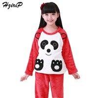 HziriP 2017 New Winter Children Girls Pajamas Sets Cute Cartoon Panda Girls Sleepwear Flannel Plush Warm