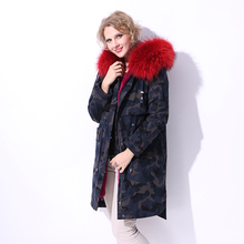 Factory direct supply Thickening Rabbit Fur Liner winter new women Parkas Real Fur coat Genuine Leather Raccoon Dog Fur Collar