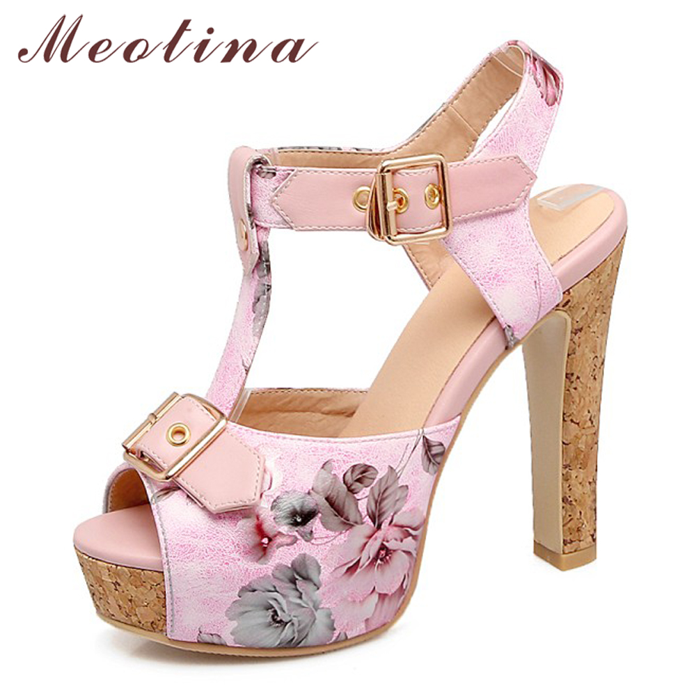 Meotina Women Sandals Summer Shoes Flower Platform Spike High Heel T-Strap Shoes Sexy Buckle Peep Toe Party Sandals Lady Size 46Meotina Women Sandals Summer Shoes Flower Platform Spike High Heel T-Strap Shoes Sexy Buckle Peep Toe Party Sandals Lady Size 46
