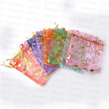 100 Pcs/Lot 9cmx12cm Heart Organza Gift Pouches Jewelry Bag Wedding Christmas Favor Gifts Storage Bags &