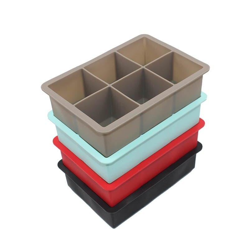 Food Grade 16.5*11.5*5 cm Quadratische Form Ice Cube Mold Obst Ice Cube Maker 6 Gitter Eis tablett Bar Küche Zubehör Silikon
