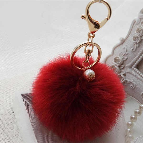 """Новый модный брелок с меховым помпоном ключ """"помпон"""" цепь меховая ткань лампочка сумка Автомобильные украшения подвеска с меховым шариком лучшие подарки EH408"""
