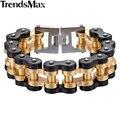 Trendsmax 12.5/20/24mm de Ancho Muchachos Pulsera de Acero Inoxidable 316L Pulsera Para Hombre Del Motorista de La Motocicleta Enlace HBM68