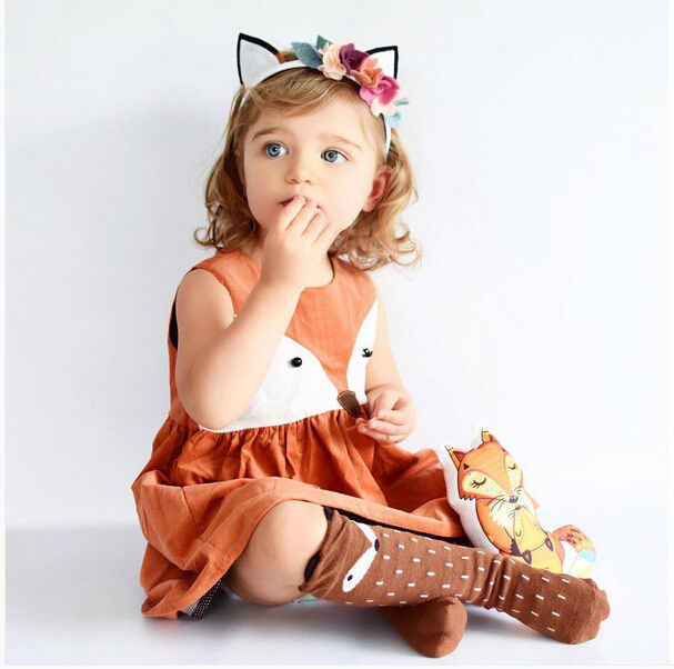 501694090c076 1 5Y Casual Baby Girls Clothes Cute Toddler Kids Fox Dress Summer ...