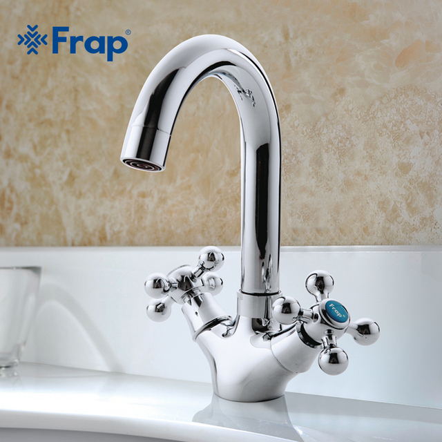 FRAP Silver Bathroom faucet Dual Handle Vessel Sink Mixer Tap Hot and cold separation switch F1319
