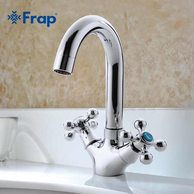 FRAP robinet mitigeur pour évier robinet de salle de bains argenté à double poignée interrupteur de séparation chaude et froide F1319