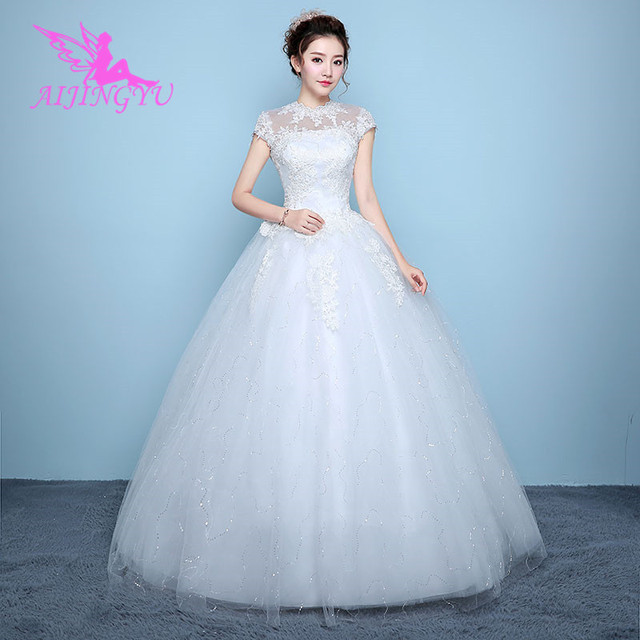 bf82590c5e9c9 AIJINGYU 2018 elegant free shipping new hot selling cheap ball gown lace up  back formal bride dresses wedding dress WK136