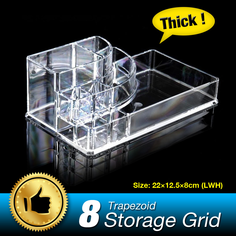 Make Up Storage Box 8 Grids Jewelry Ring Ear Nail Cosmetic Storage Display Box Woman Acrylic Cosmetic Organizer Holder