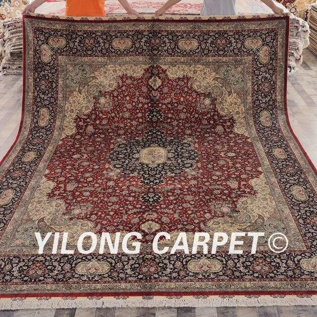 Yilong 8 X10 Handarbeit Qum Seide Teppich Vintage Orientalischen