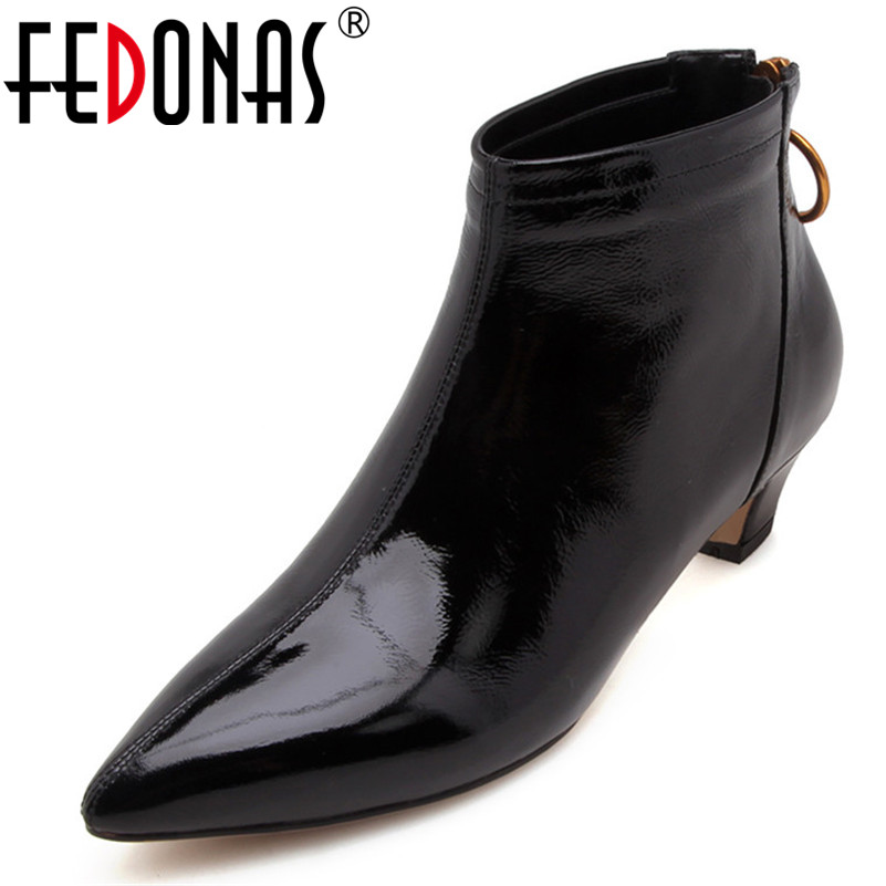 FEDONAS New Ankle Boots For Women Patent Leather Autumn Short Ladies Shoes Woman Low Heels Pumps