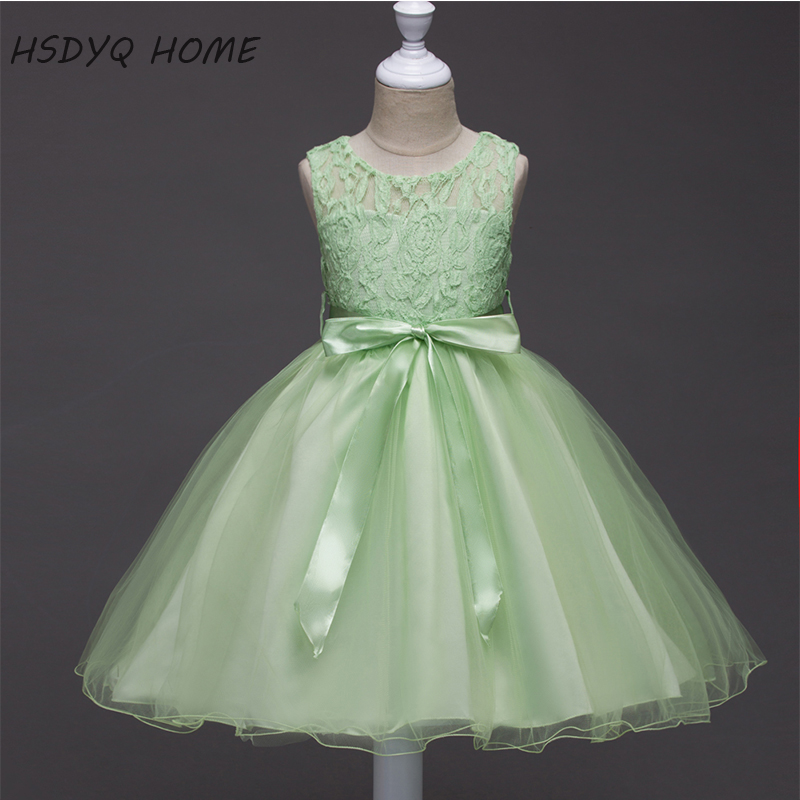 Spring green Appliques   Flower     Girl     Dresses   In stock sashes Children gown real photo cheap A-Line Kids   Dress
