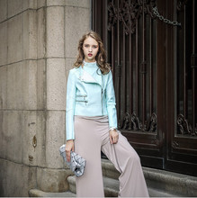 2016 autumn new European & American brand women short paragraph Slim Trendy macarons color double-sided PU jacket little jacket