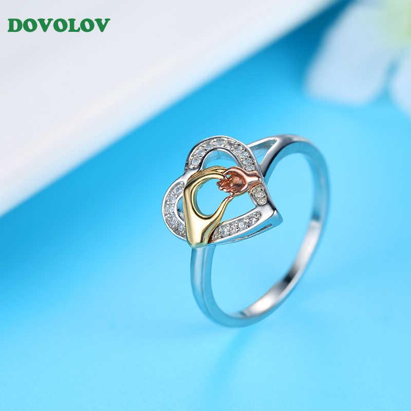 Dovolov diseño de moda anillos de corazón de mano para mujeres anillos de joyería de Color plateado para regalo de mamá B504
