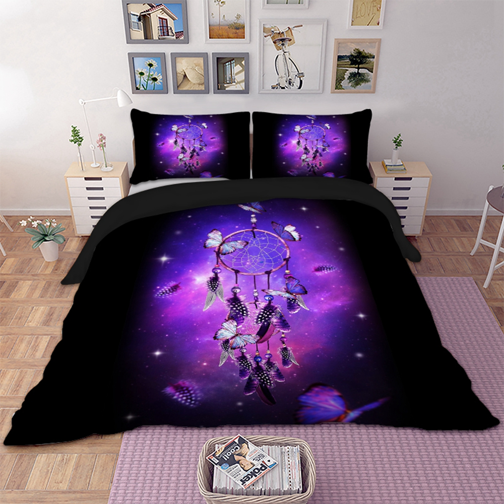 Butterfly Dream Catchers Bedding Purple Duvet Cover With Pillowcases Twin Full Queen King Size Bedclothes 3pcs Home Textile