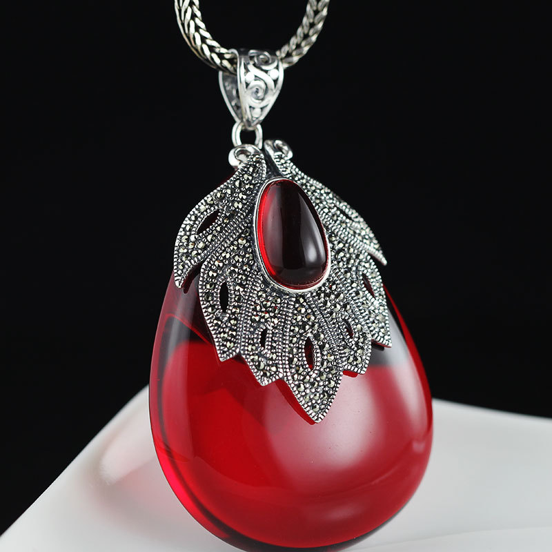 Real Pure Silver 925 Jewelry Red Garnet Pendant For Women With Big Gemstones Water Drop Fine