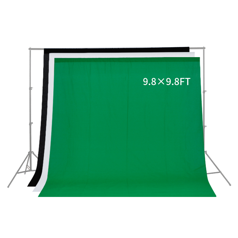 купить 3*3m/9.8*9.8ft Professional Green/White/Black Muslin Backdrop Photo Background Photography Backdrops for Photo Studio Background по цене 1254.99 рублей