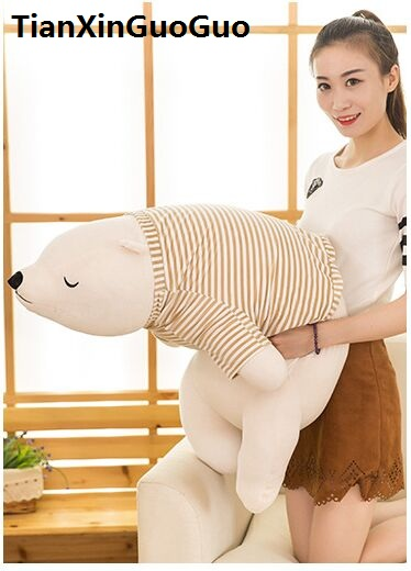 huge 110cm cartoon soft polar bear plush toy lovely beige bear dressed stripes cloth sleeping pillow Valentine's Day gift w2592 polar marine animal model toy penguin reindeer polar bear blue whale walrus sea l toy model sets pvc figure