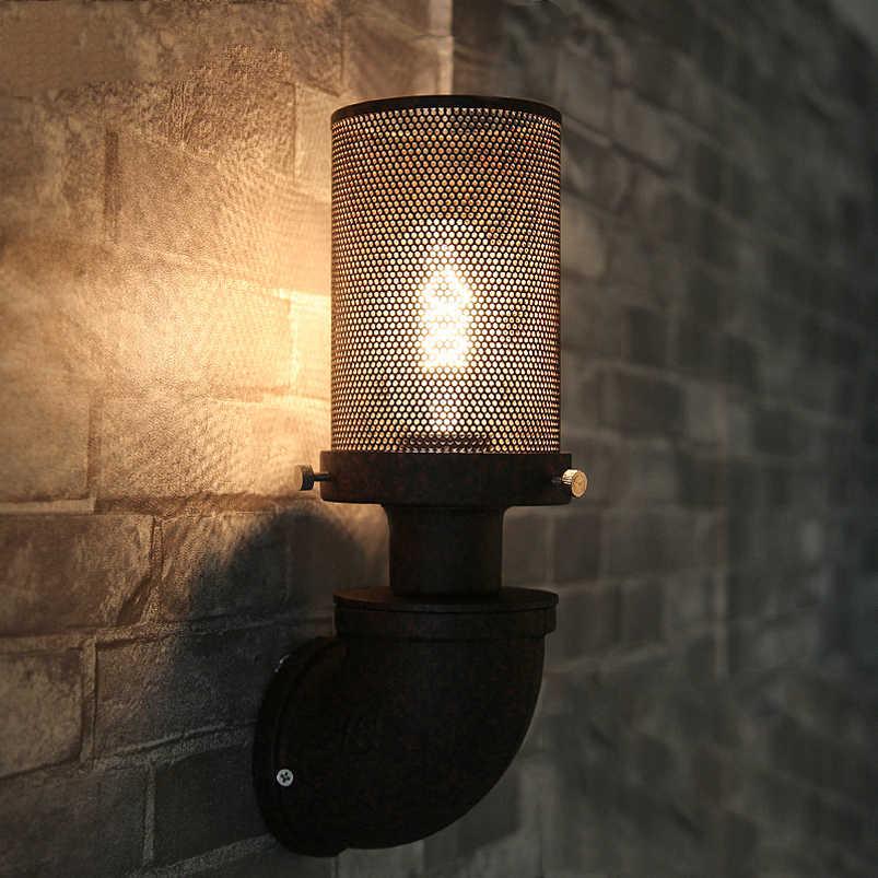 Лофт ретро лампа Винтаж Железная Труба подсветка стен в коридоре паб кафе ресторан для коридора прикроватный гостиная настенный светильник бюстгальтер бра