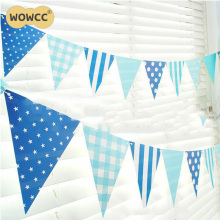 1Set Blue/Pink Paper Board Bunting Pennant Flags Banner Garland For Baby Shower Birthday Party Decoration Kids Room Decoration