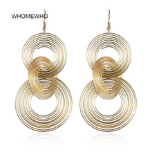 WHOMEWHO Gold Metal Handmade Wired Loop Round Minimalist Minimalism Earrings 2019 Summer Korean Fashion Party Club Ear Jewelry