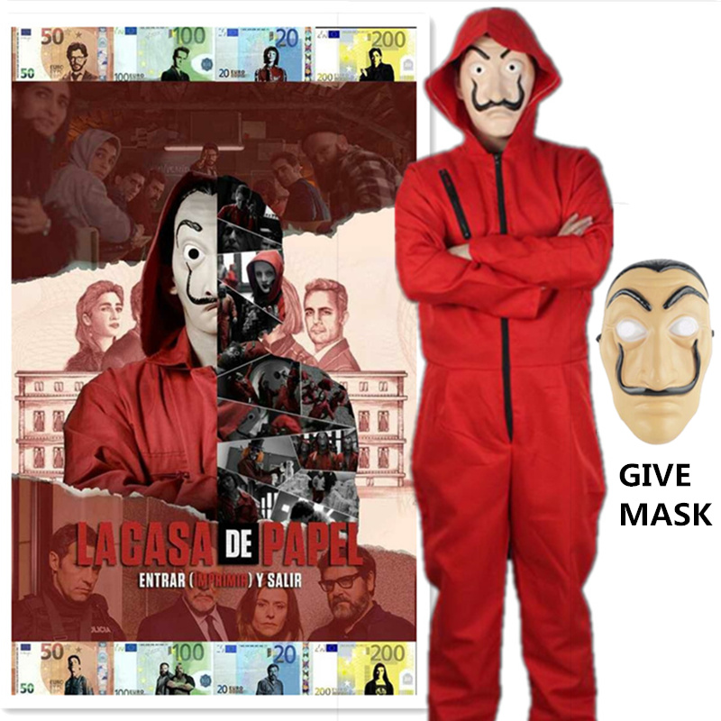 La Casa De Papel Salvador Dali Cosplay Costume Money Heist The House of Paper Cosplay Costume Mask Red Hoodie Jumpsuit Rompe