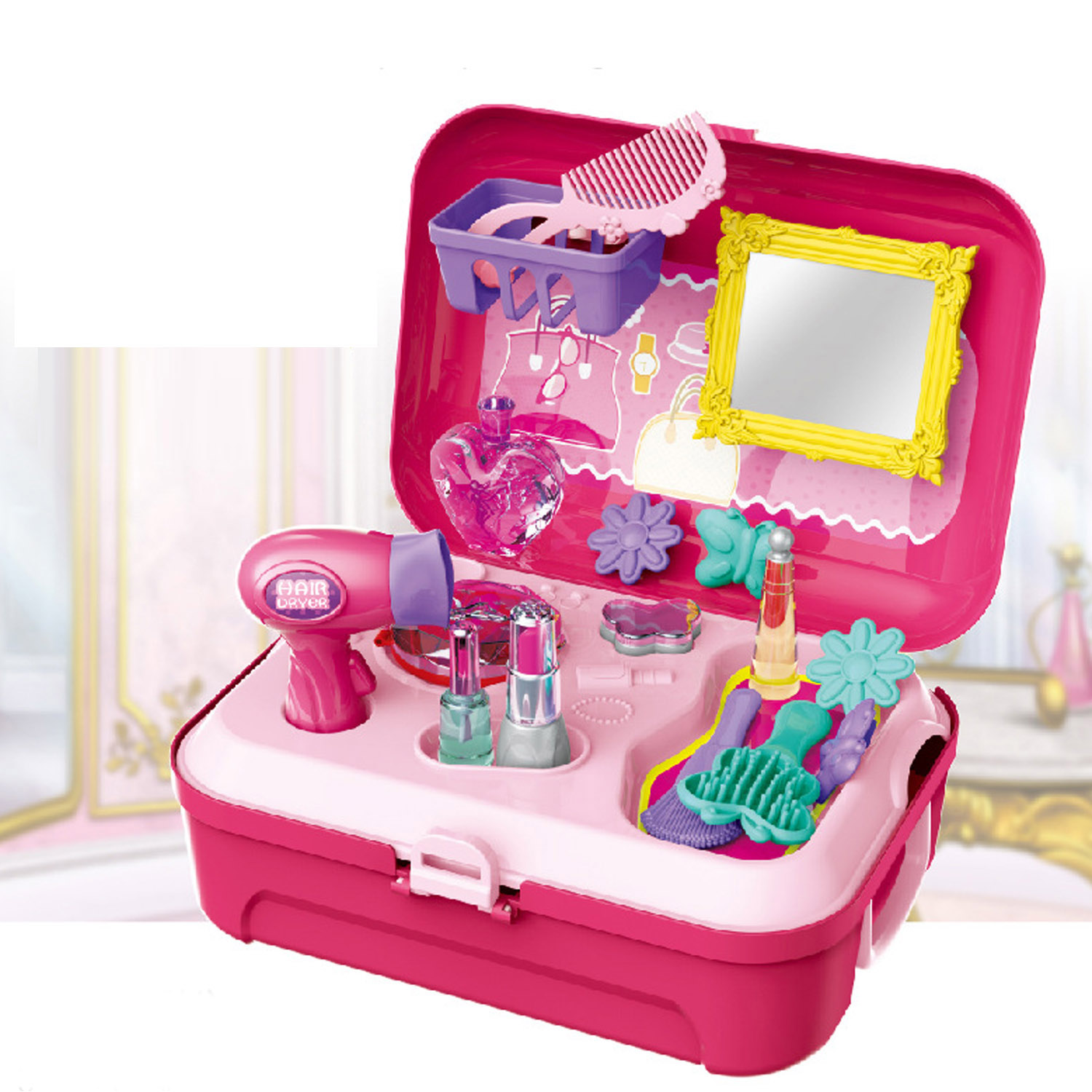 Kids Girls Princess Makeup Tools Cosmetic Box Pretend Play Toy Makeup Mirror Lip Gloss Hair Dryer Comb Hair Accessories Toy