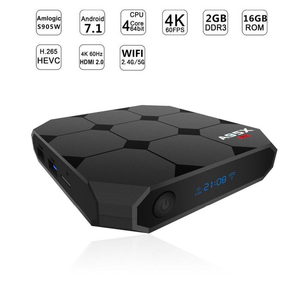 2018 Smart TV Box Android 7.1 S905W Quad Core 2 gb/16 gb WiFi 4 k TV Box con display LCD HD Media Player Tvbox Set-top Box