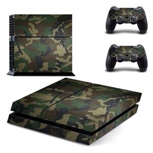 Image 1 - Camouflage Kunststoff Vinyl Haut Aufkleber Für Sony Playstation 4 Konsole mit 2 Controller Abdeckung Für PS4 Gamepad Joypad Aufkleber