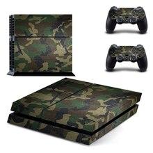 Camuflagem de plástico vinil pele adesivo para sony playstation 4 console com 2 controladores capa para ps4 gamepad joypad decalque