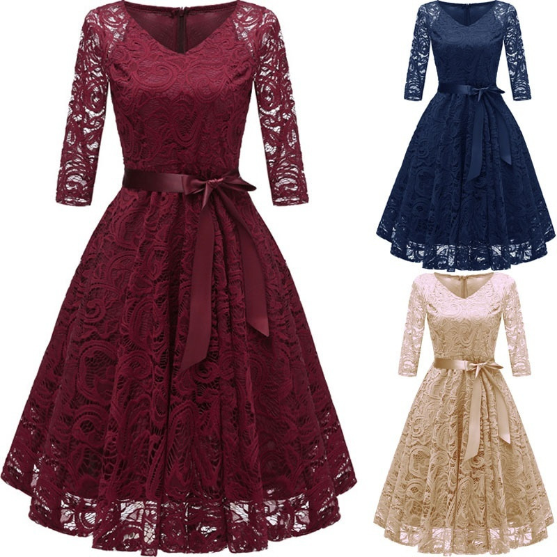 Vestidos De Graduacion 2018 A-line Lace Long Sleeve Cheap Vintage V-neck Vintage Homecoming Dresses Special Ocasion Dresses