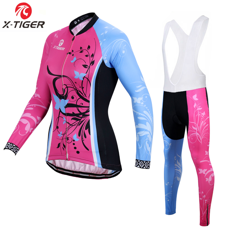 X Tiger Women Winter Thermal Fleece Cycling Jersey Set Long Sleeve Mountain Bicycle Clothes Uniform Bike