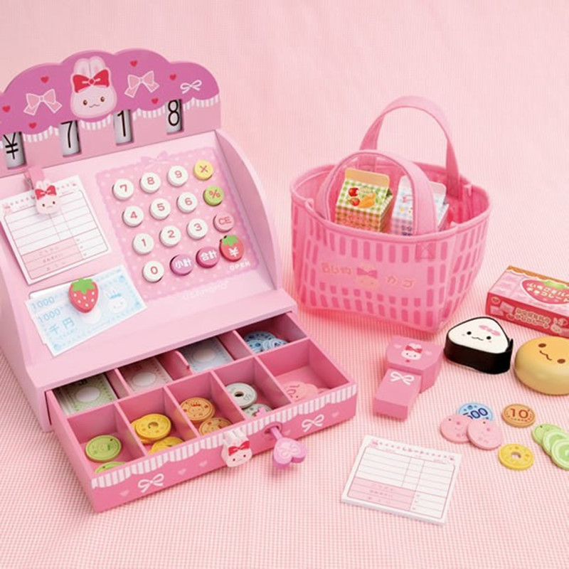 Wooden Toys Simulation Cash Register Child Pretend Play Toys