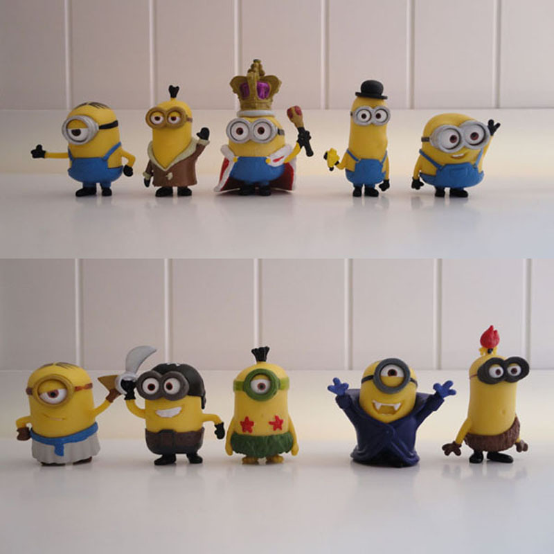 10 pcs/set 4-7cm PVC Toy set Action Figures Toys small yellow Man models doll Kids Toys Collectible Model Toys For Gift