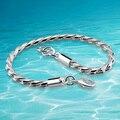 Men 's 925 cadena de eslabones de plata pulsera moda hombre joyería de la pulsera. 4 mm cadena de la serpiente de hueso